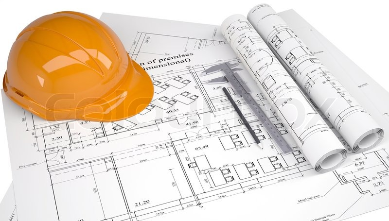 Helmet on the construction drawings | Stock image | Colourbox