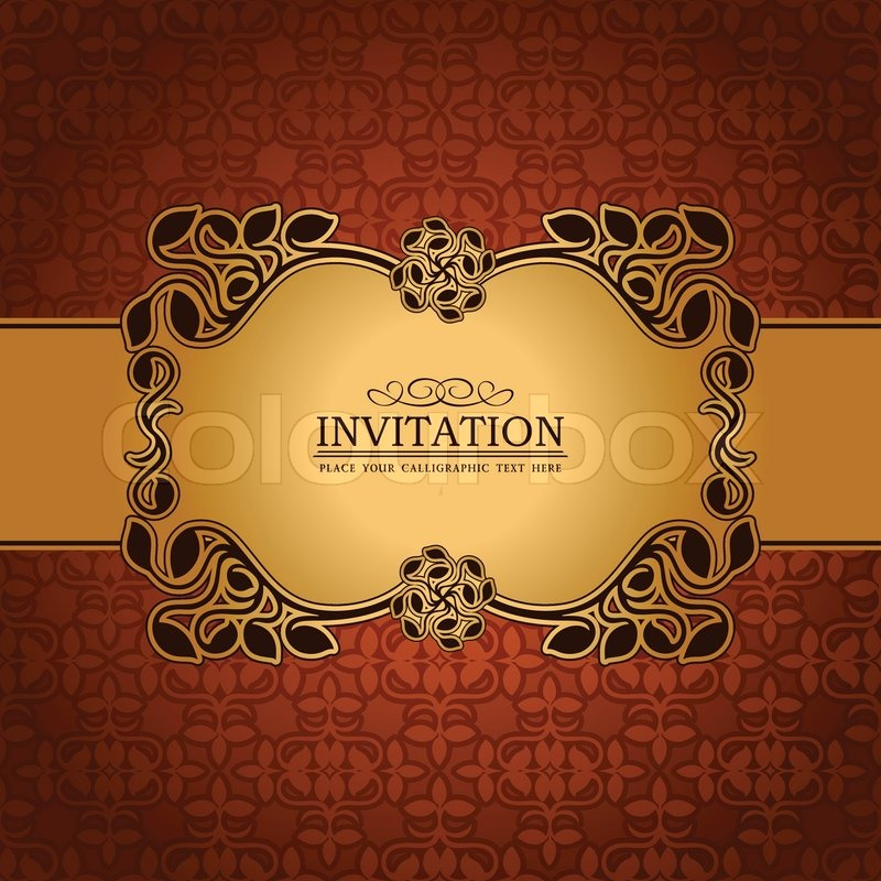 Abstract leaf background exclusive creative ornament ornate creative ornament ornate baroque luxury vintage royal gold frame banner floral invitation card antique style pattern template for design vector stopboris Images
