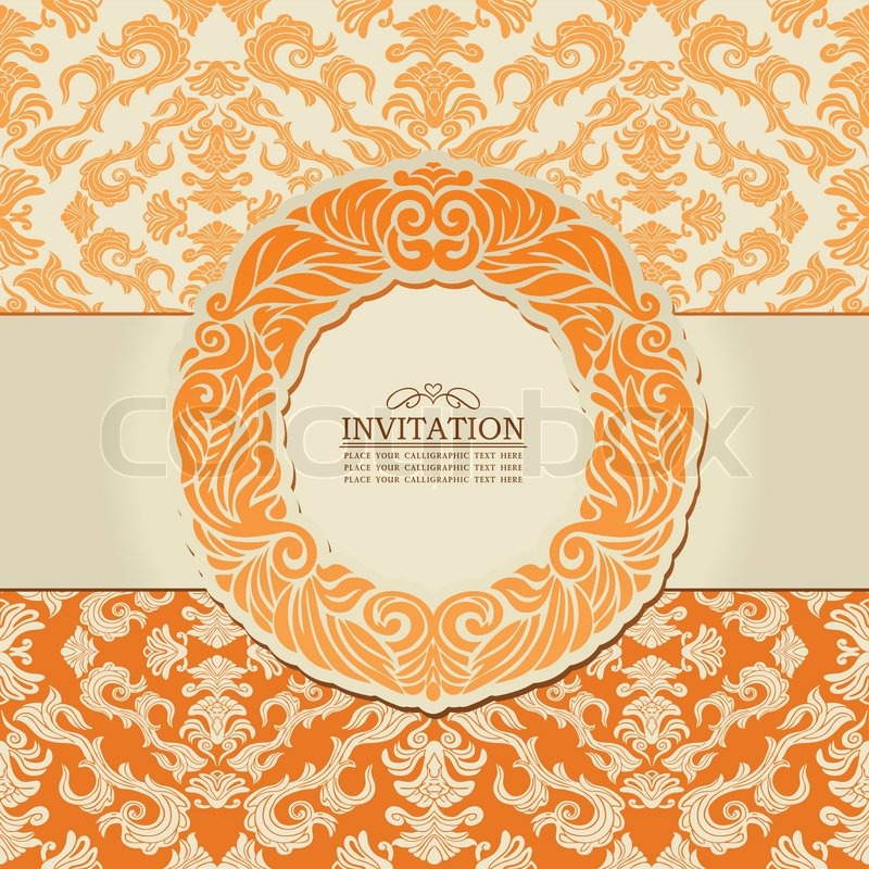 Exclusive Creative Ornament Ornate Baroque Vintage Orange Frame Banner Floral Invitation Card Antique Style Pattern Template For Design Vector