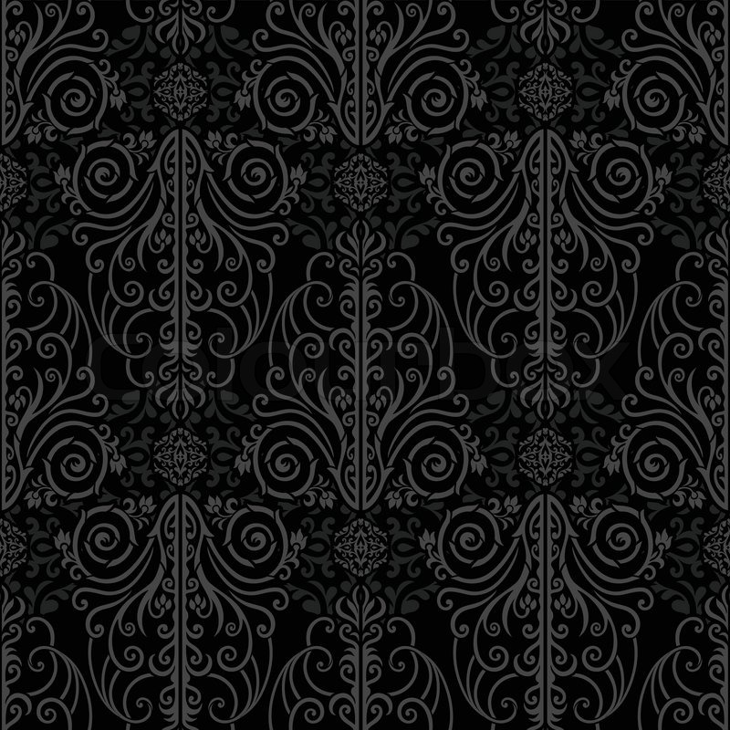 Abstract beautiful black background, royal, damask ...