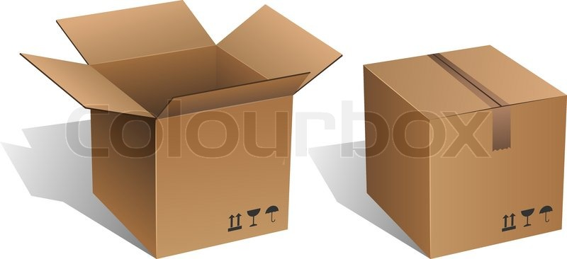 Opened And Closed Vector Cardboard Box Isolated On White