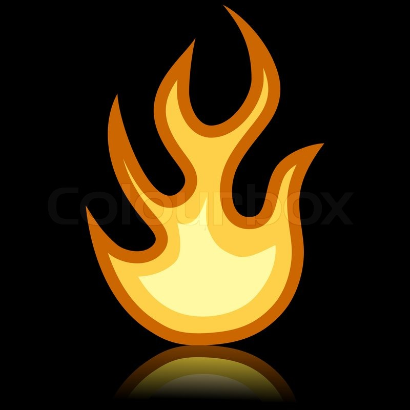 Simple fire icon isolated on black background. | Stock ...
