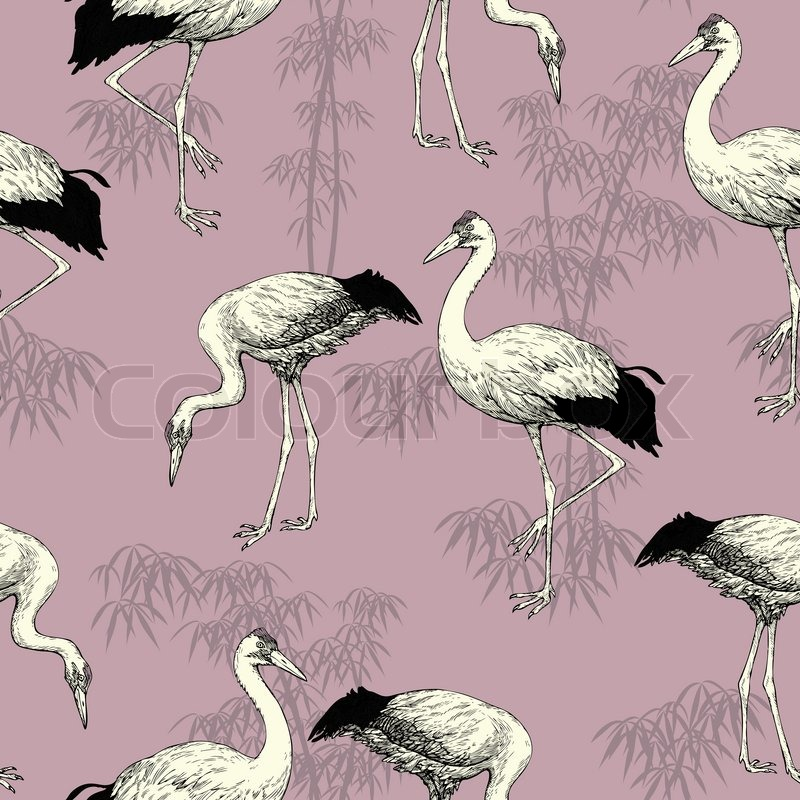 Abstract Birds Background Japanese And Chinese Seamless