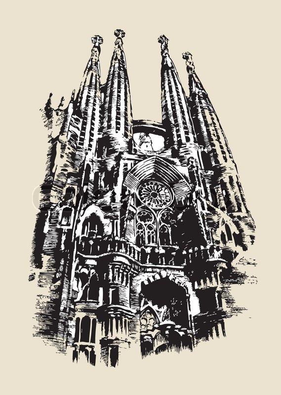 La Sagrada Familia drawing | Stock Vector | Colourbox