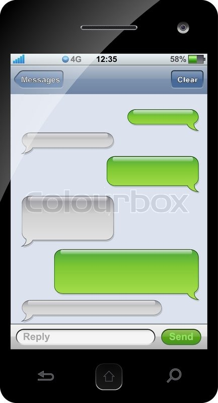 smartphone sms chat template with copy space vector colourbox. Black Bedroom Furniture Sets. Home Design Ideas