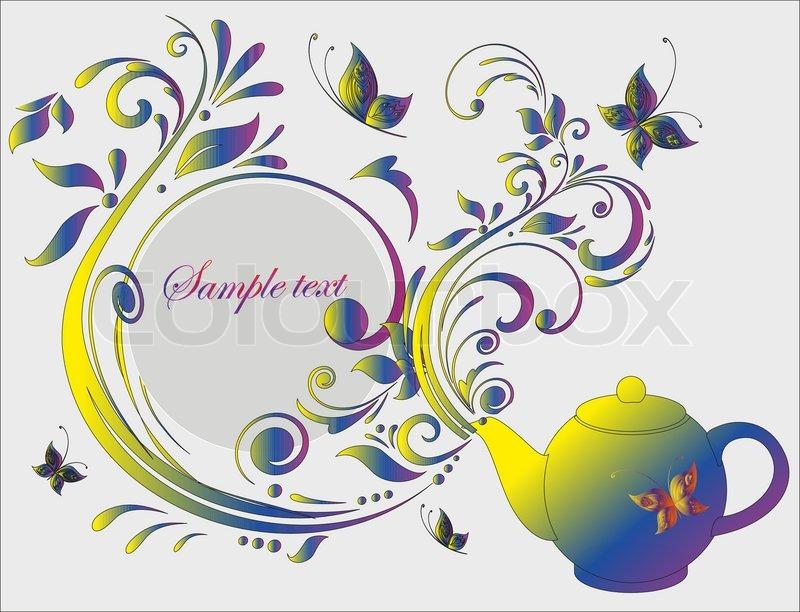 Elegant card with teapot. vector illustration   Stock ...