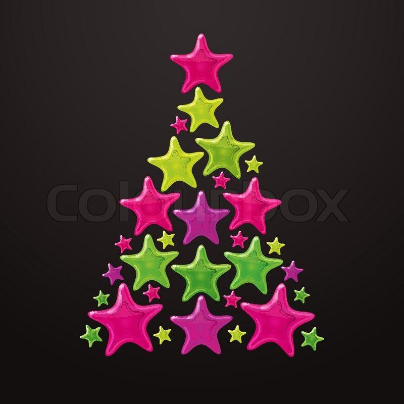 weihnachtsbaum gemacht von sternen vektor vektorgrafik. Black Bedroom Furniture Sets. Home Design Ideas