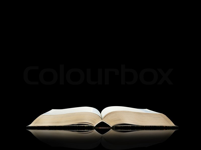 open book black background stock photo colourbox