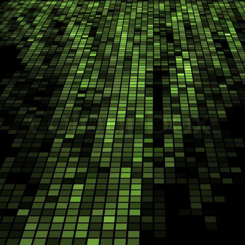 Dark Green 3D Mosaic Technology Background.