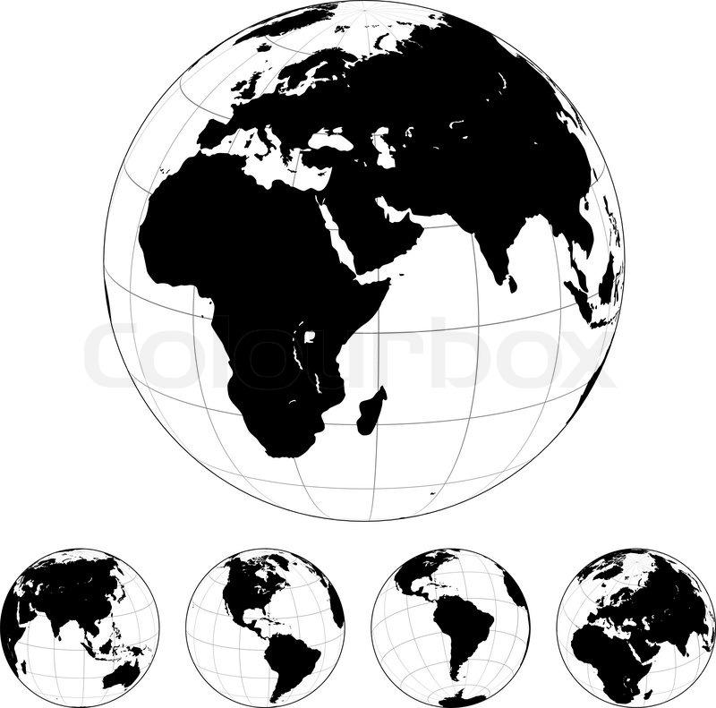 schwarz wei vektor erde globen isoliert auf weiss vektorgrafik colourbox. Black Bedroom Furniture Sets. Home Design Ideas