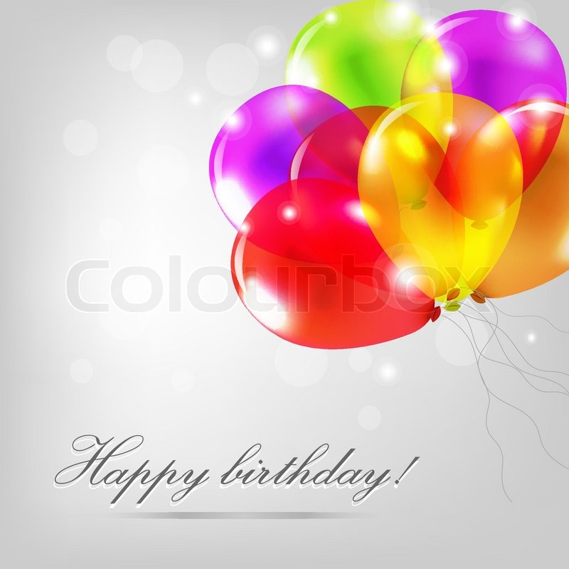 Birthday Card With Color Balloons Stock Vector Colourbox