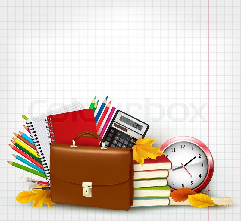Back To School Background With School Supplies And Autumn