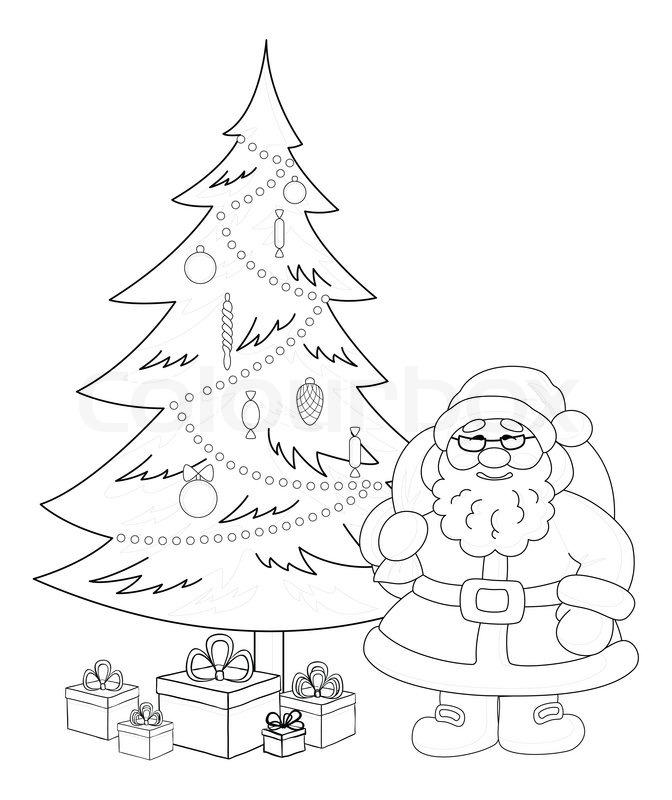 Santa Claus and Christmas tree contours  Stock Photo  Colourbox