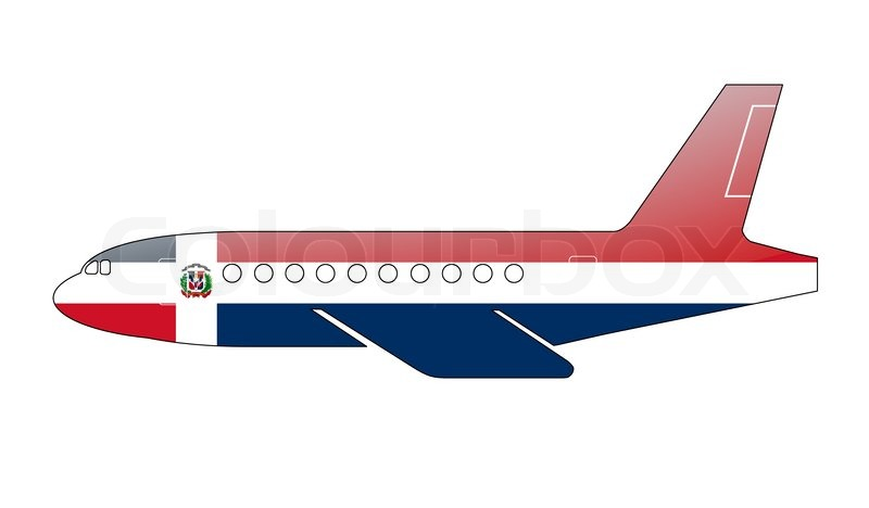 the dominican republic flag painted on the silhouette of a aircraft