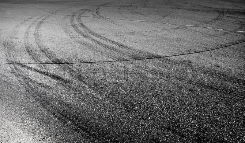 abstract turning road background with tires track stock photo