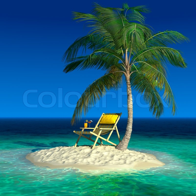 Realistic Recreation Concept Under A Palm Tree On A Small