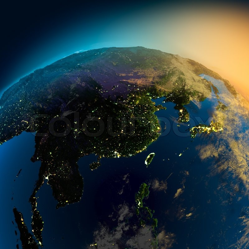 Night View Of Asia From The Satellite Stock Photo Colourbox - Asia satellite map