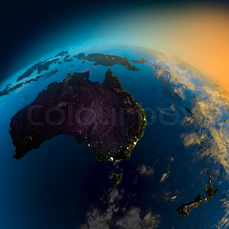 Night view of Australia from the ...   Stock Photo   Colourbox