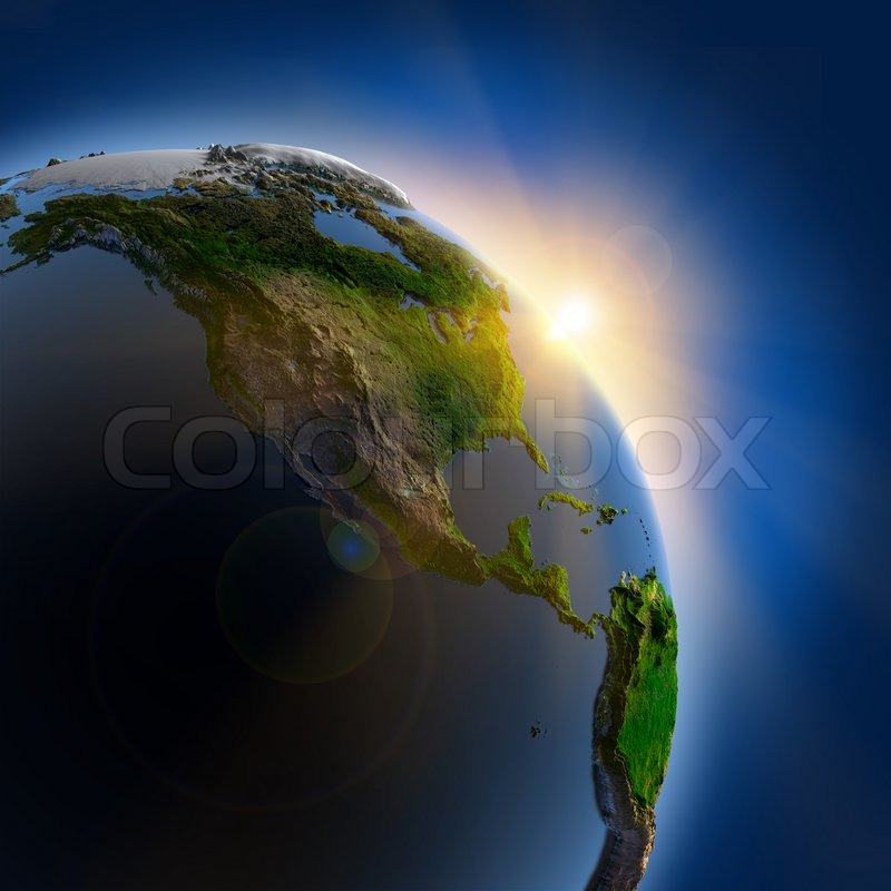 Sunrise over the earth in outer space stock photo for Jobs in outer space
