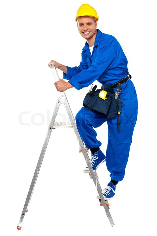 Repairman Climbing Up A Stepladder Stock Photo Colourbox