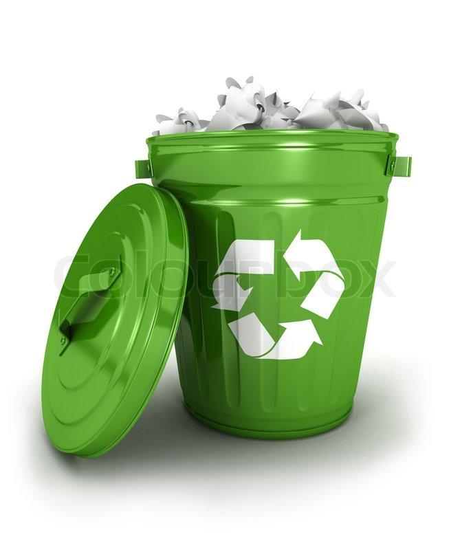 Recycling Mülleimer 3d papierkorb mülleimer symbol mit papiere isoliert weißer