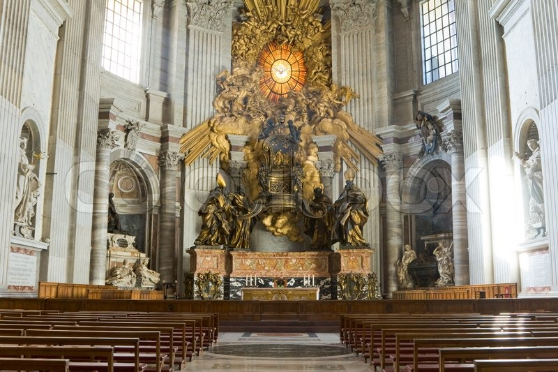 Saint Peter S Basilica Interior In Vatican Stock Photo