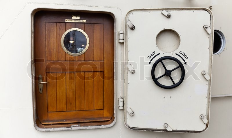 Ship\u0027s door with Porthole round handle and Close Open and Entrance to vestibule #73 description in Russian stock photo & Ship\u0027s door with Porthole round handle and Close Open and Entrance ...