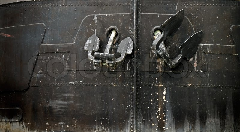 Bow Of The Black Ship Hull With Anchors Stock Photo
