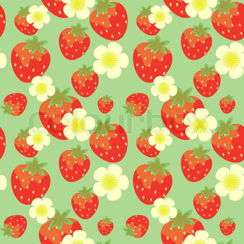 Strawberry Seamless Pattern With Flowers Stock Photo Colourbox Inspiration Strawberry Pattern