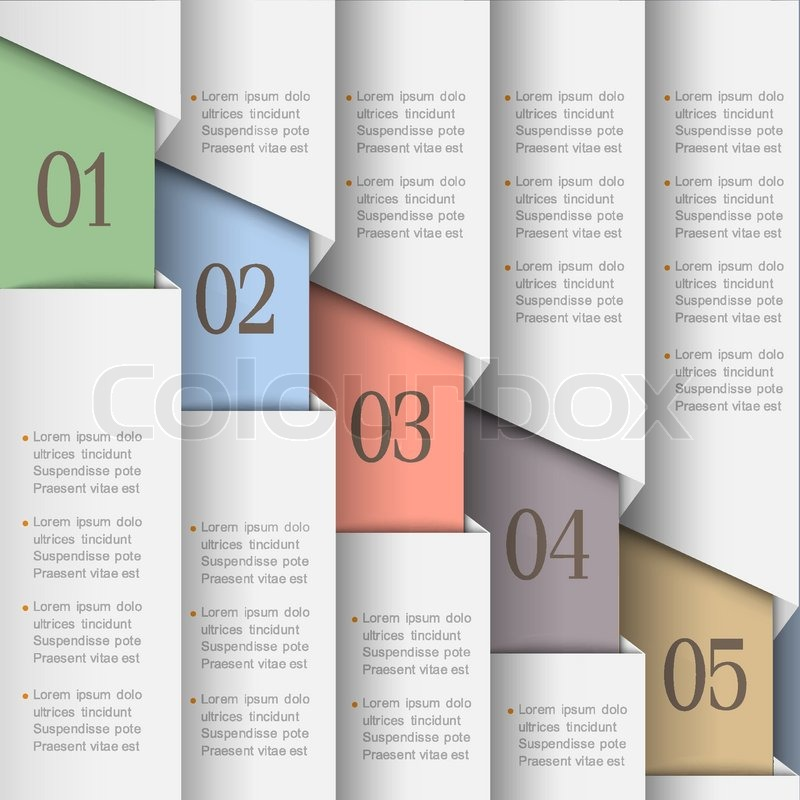 white paper numbered banners stock vector colourbox