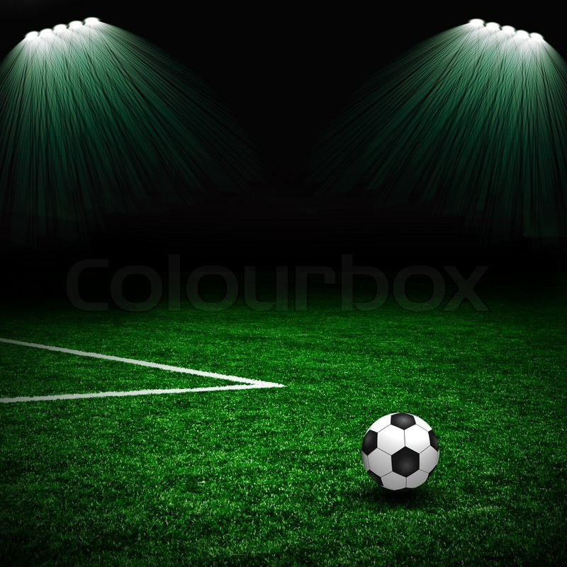 Soccer Ball On The Green Field And Stock Photo Colourbox