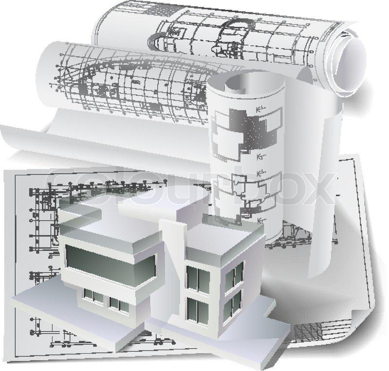 architektonischen hintergrund mit einem 3d modell und rollen von technischen zeichnungen. Black Bedroom Furniture Sets. Home Design Ideas