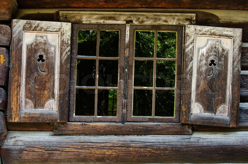 Decorative Window Of Wooden Cabin Stock Photo Colourbox