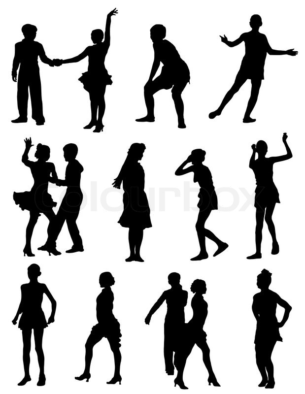 Joy People Illustration Happy Fun Happiness Girl Dance Active Vector Silhouette Play