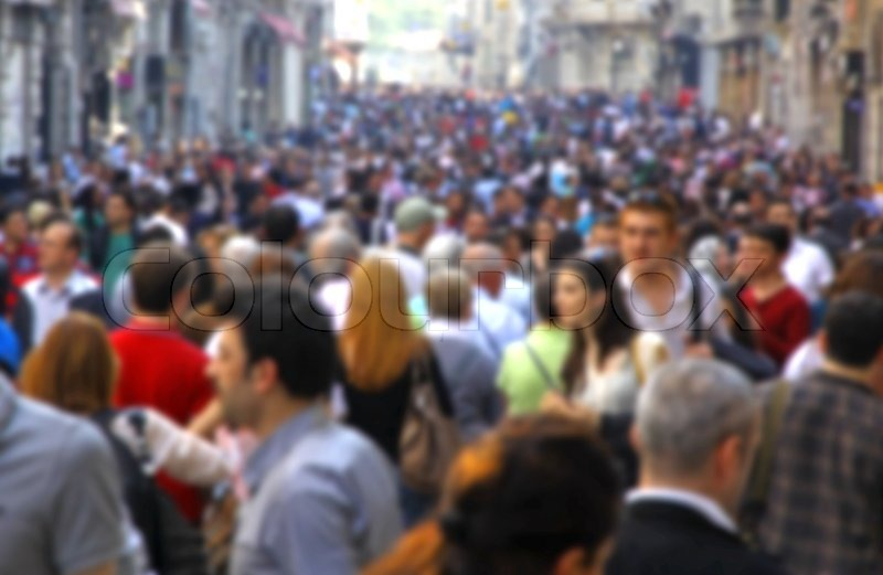 Blurred crowd of unrecognizable people at the Istiklal ...