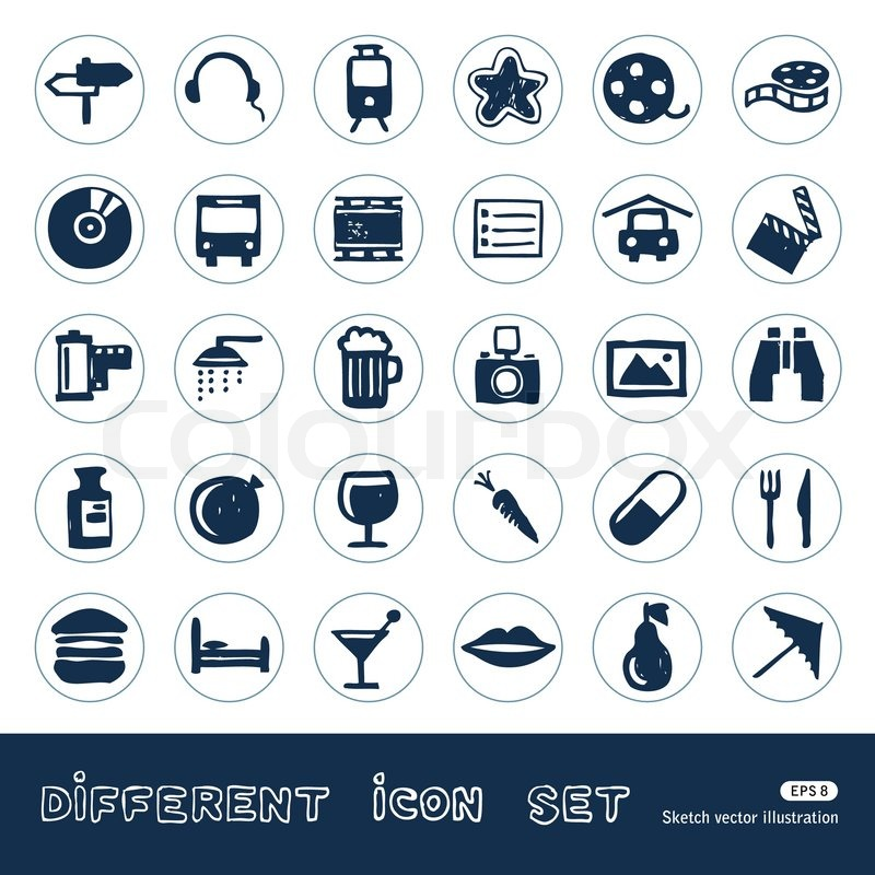 vacation  media and food web icons set