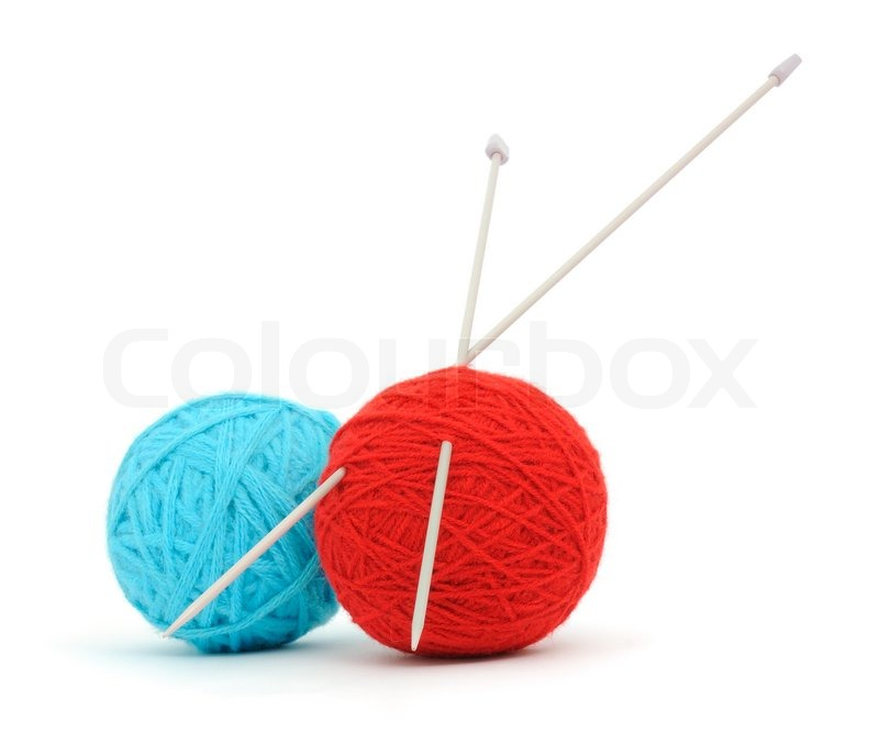 Knitting needles and yarn Stock Photo Colourbox