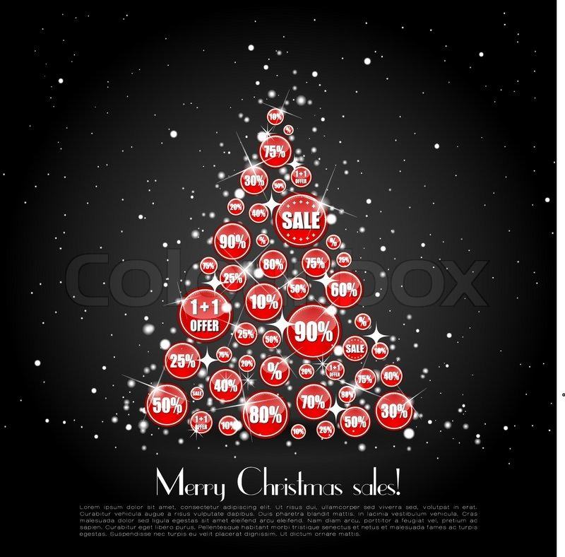 Christmas Tree Made Of Sale Banners On Stock Vector Colourbox