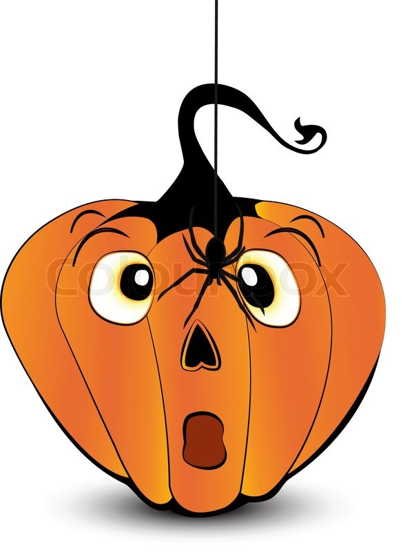 Scared pumpkin face with a spider stock vector colourbox for Surprised pumpkin face