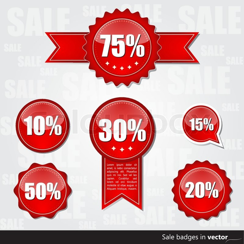 collection of red sale badges stock vector colourbox