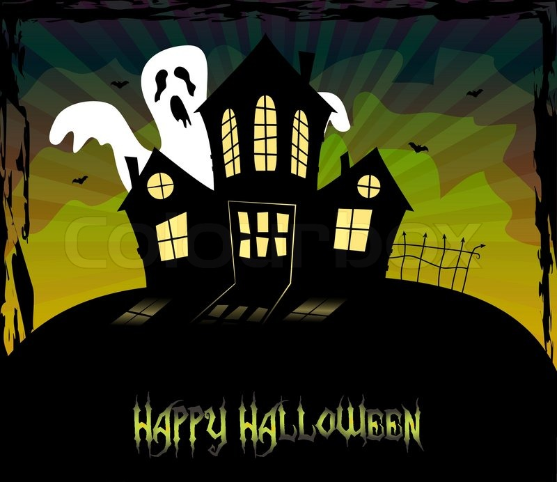 Halloween theme with a scary house and a ghost | Stock Vector ...