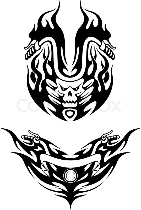 Two Tribal Bike Tattoos Stock Vector Colourbox
