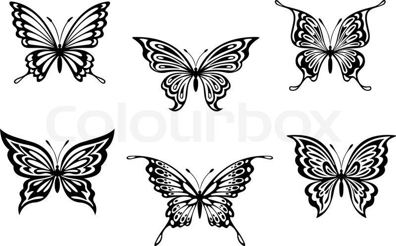 Colour Line Art Design : Schmetterling tattoos vektorgrafik colourbox