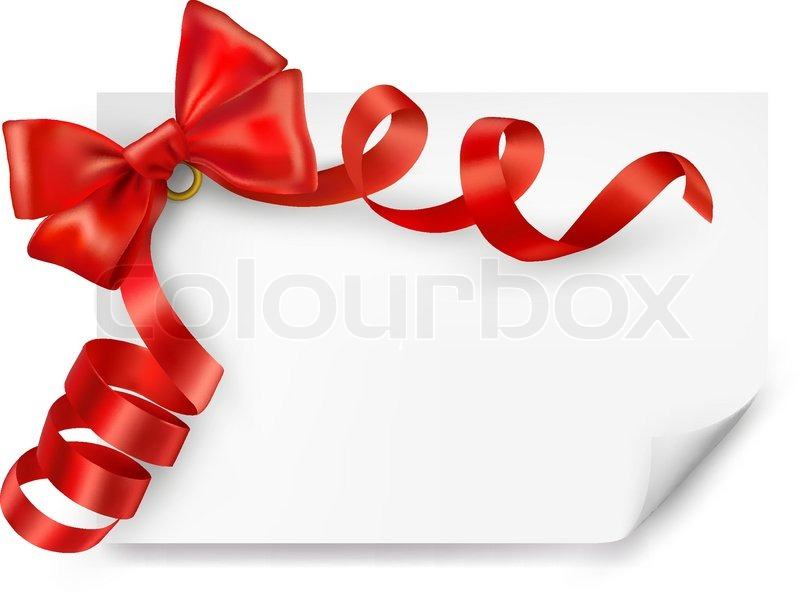 Card with red gift bow with ribbons vector stock vector colourbox negle Image collections