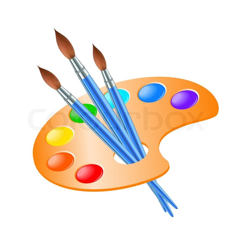Art palette with paint brush for drawing stock vector - Palette dessin ...