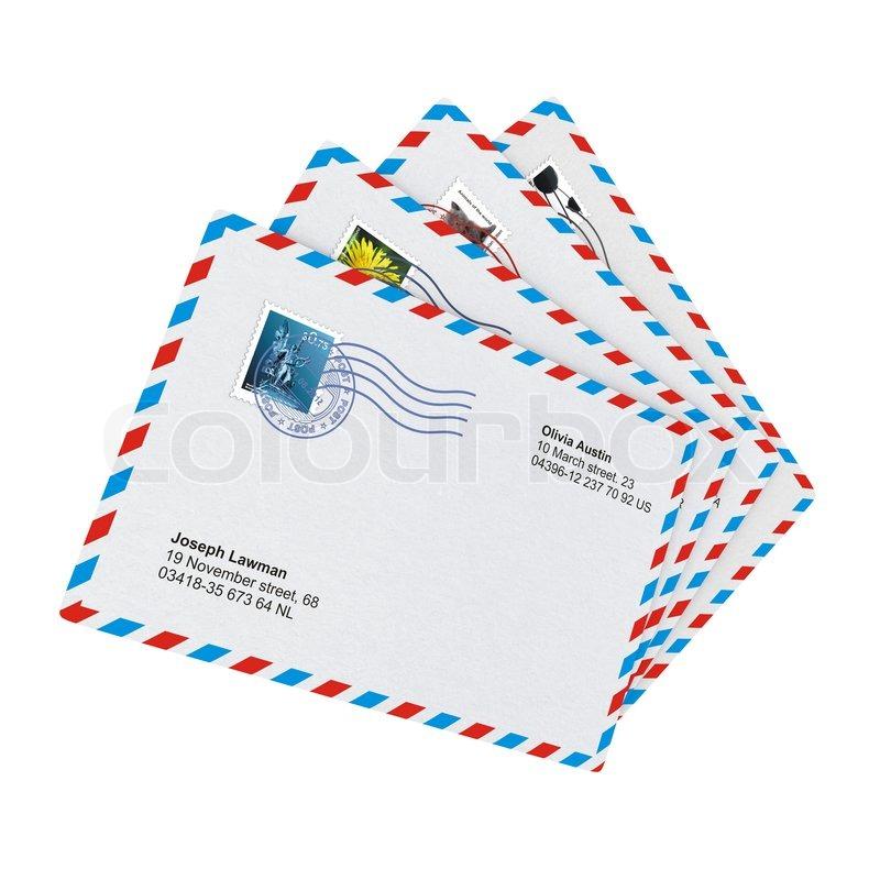 Textile Stock Distributors Mail: Some Post Envelopes On White Background