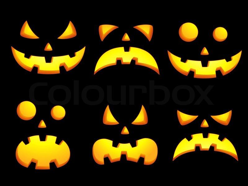 Halloween smiley faces vector colourbox