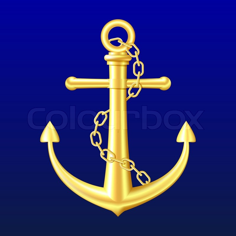 Gold Anchor On Blue Background Stock Photo Colourbox