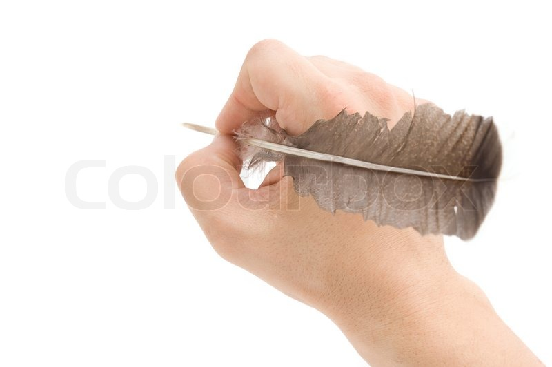 Writing Hand With Pen Feather Stock Photo Colourbox