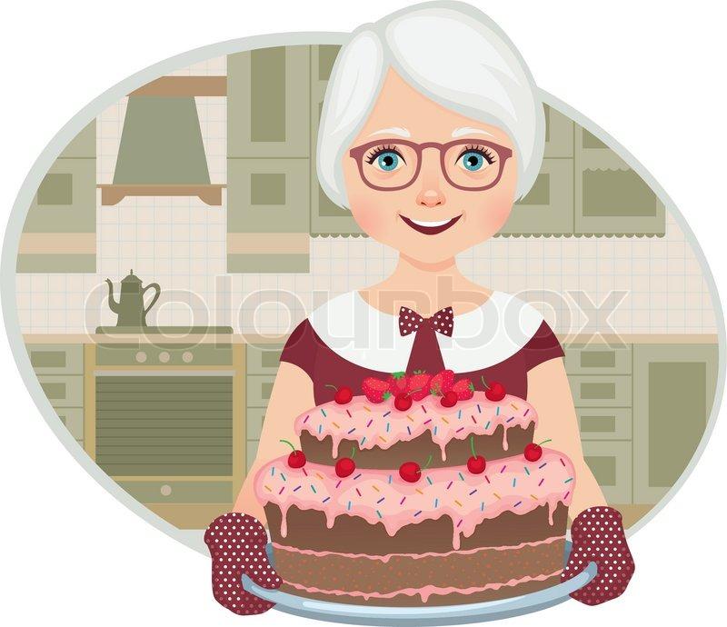 Grandmother baked a cake Stock Vector Colourbox